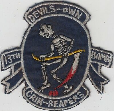 """USAF 13th Bomb Squadron Patch B-57 Canberra """"Grim Reapers"""""""