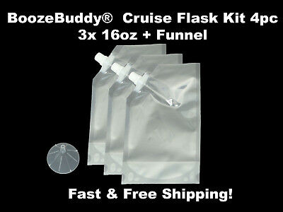 Disposable Plastic Flask Cruise Kit- Hidden Runners Rum alcohol wine- 3x 16oz
