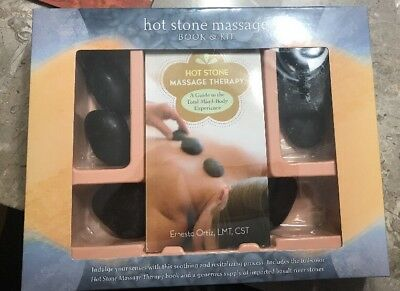 Hot Stone Massage Therapy Book & Kit Basalt River Stones Set