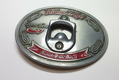 Bottoms Up Open Here Quench Your Thirst Bottle Opener Silver Belt Buckle 4.5x3.5