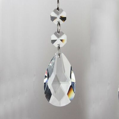 DROPLET CUT GLASS CRYSTALS DROPS BEADS VINTAGE WEDDING CHANDELIER PRISMS UK Sell