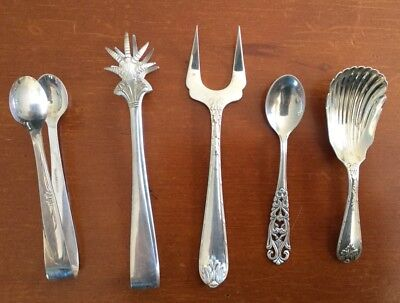 Silverplate Antique Spoons, Tongs And Fork