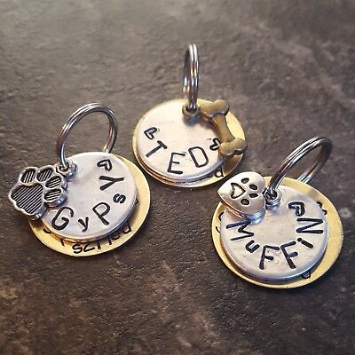 ONE REPLACEMENT TAG (not full set) hand stamped pet tags dog cat PoshTags