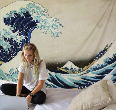 Quality Traditional Japanese Wave Oriental Tapestry Wall Hanging Decorative Zen