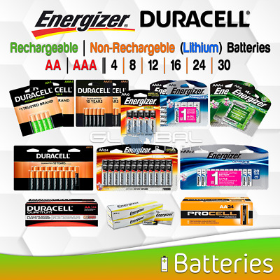 AA AAA Battery Energizer Duracell Lithium/Rechargeable 2 4 8 10 16 24 Pack Lot