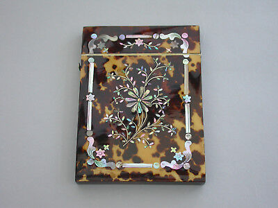 Victorian Faux Tortoiseshell & Mother of Pearl Card Case