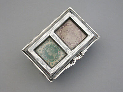 Victorian Silver Twin Compartment Stamp Box Grey & Co London 1900