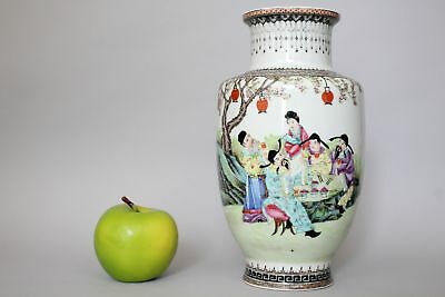 A Chinese Republic (1912–1949) famille rose figural vase with Qianlong mark