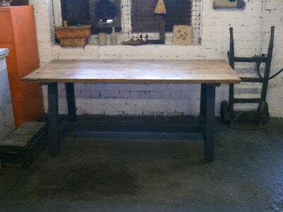 solid reclaimed vintage mill style kitchen dining table  / courier option no1704