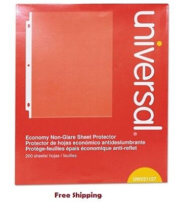 Universal Top-Load Poly Sheet Protectors, Nonglare, Economy, Letter, 200/Box NEW