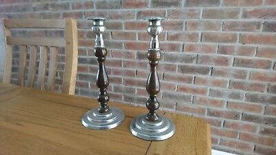 Pair of Antique / Vintage Wood and White Metal Candle Sticks - Floral Design