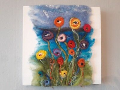 Contemporary Floral/Sea Felted Picture on canvas by offthebeachshop (30cm sq)