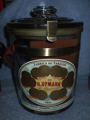 "H. Upmann Glass Cigar Humidor, 8"" Tall W/Metal Bands & Leather Handle Office Jar"