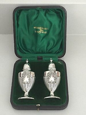 Antique 1901 Walker & Hall Solid Silver Cruet Set Pepper & Salt Pots In Case