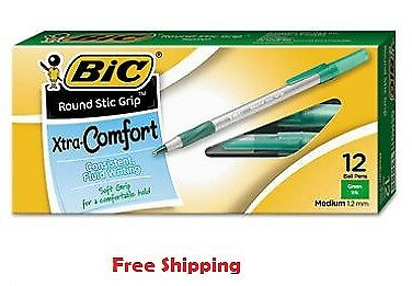 BIC Round Stic Grip Xtra Comfort Ballpoint Pen, Green Ink, 1.2mm, Medium, 12ct