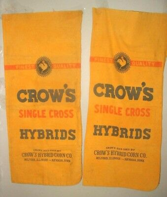 vtg feed seed sack lot fabric crow's hybrid corn co. milford il  hemp linen