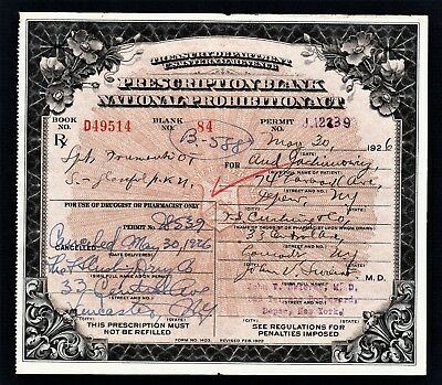 Prohibition Prescription Whiskey Antique Doctor Pharmacy NY History DEA Bar 1926