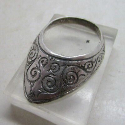 Circa 300-400Ad Roman Era Decorated Silver Imperial Archers Ring Rare