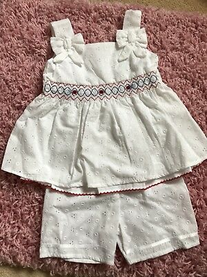 Baby Girls 12-18 Months M&Co White Short Sleeved Top And Shorts BNWT