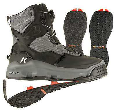 STUDDED KLING-ON SOLES SIZE #10 KORKERS WRAPTR SEAMLESS WADING FISHING BOOT