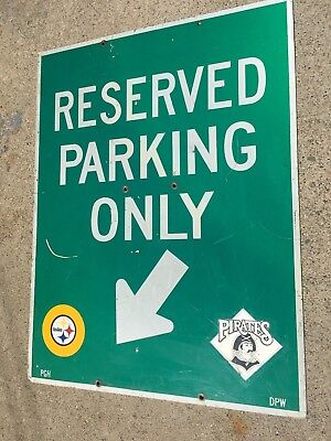 Three Rivers Stadium Pittsburgh Pirates Steelers Reserved Parking 32X42 Sign