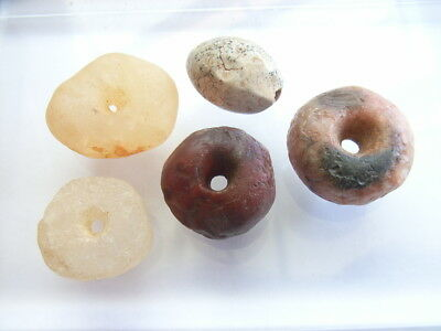 5 Ancient Neolithic Stone, Quartz Beads, Stone Age, VERY RARE!  TOP !