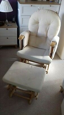 Wood glider rocking nursing chair and gliding footstool.