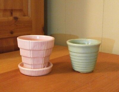 2 small mccoy hull pottery planters flower pots mint green pink 2 small mccoy hull pottery planters flower pots mint green pink brush usa 285 mightylinksfo