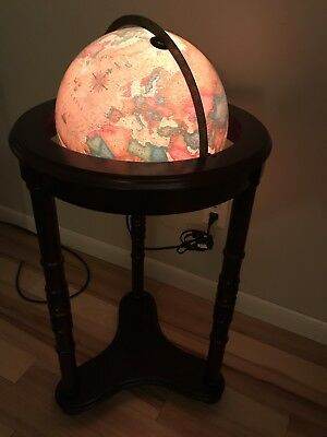 "VINTAGE 12 INCH LIBRARY GLOBE Mahogany 36"" STAND - WORLD GLOBE MAP LIGHTS UP"