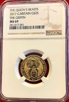2017 Great Britain Gold Queen's Beasts (1/4 oz) Griffin £25 - NGC MS69