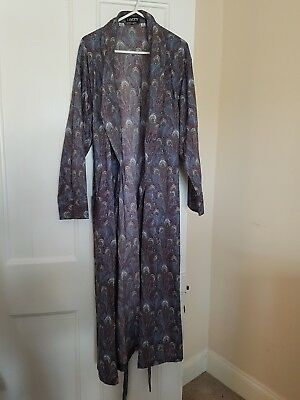 Liberty Dressing Gown Robe Peacock Feather Hera Cotton Medium Unisex