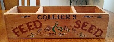 "Vintage Collier's Feed & Seed Wood Display Box 14"" Long"
