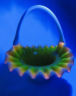 Kanawha Fenton Hobnail Yellow Inlay Glowing Glass Basket Amazing Canary Green