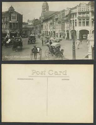 Singapore Old Real Photo Postcard Robinson Road, Street Scene Motor Car Rickshaw