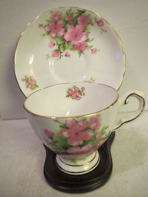 TUSCAN FINE ENGLISH BONE CHINA TEA CUP AND SAUCER - PINK FLOWERS - Gold Trim