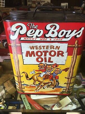 VINTAGE 1949,THE PEP BOYS WESTERN  MOTOR OIL CAN ,2 Gallons, Manny Moe and Jack