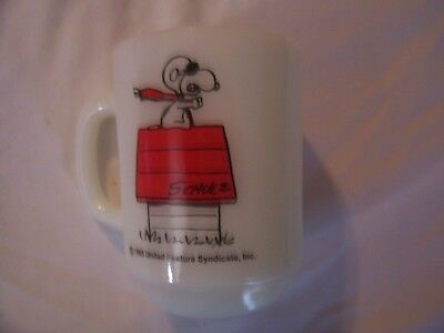 """Snoopy """"curse You Red Baron"""" 1965 Fire King Anchor Hocking Cup/mug Excel Condit"""