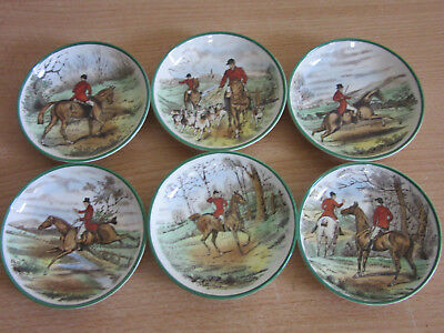 "Set of 6 Spode, England ""The Hunt"" Butter Pats porcelain small dishes"
