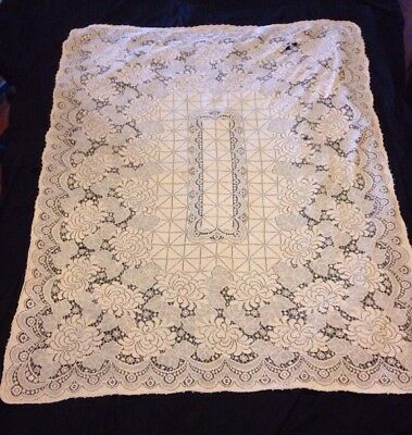 "Vintage Antique Linen And Lace Tablecloth Floral Filigree Diamonds 68"" X 52"""