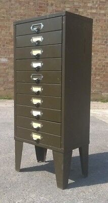 VINTAGE INDUSTRIAL SALVAGE METAL FILING CABINET, HOME OFFICE. 10 Drawer