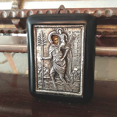 Holy Icon 950 Solid Silver Repousse in a Byzantine Art Style Greek