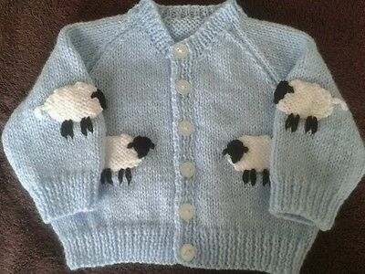 Brand New Hand-Knitted Baby Boys Cardigan with WOOLLY SHEEP (0-3 months)