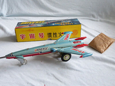 Red China MF 030 Universe Friction Rocket Express Tin Toy 70er Jahre 29cm in Box