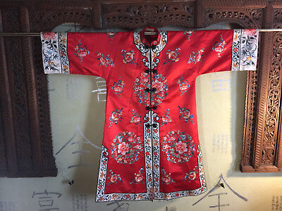 China Vintage *Silk Robe*Red w/ Embroidery*NR, fully lined exc condition low res