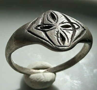 Silver Byzantine Early Christian Roman Ring **  Cross  **