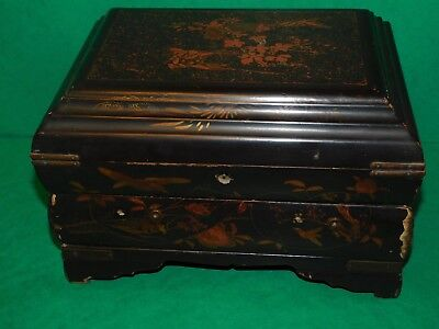 Japanese Oriental Black Lacquer Box With Drawer Birds Blossom For Restoration