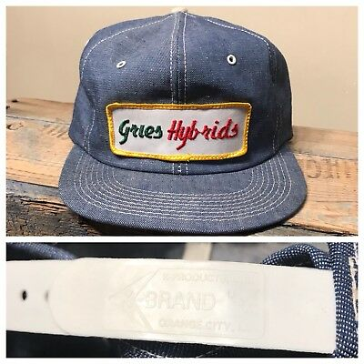 Vintage Gries Hybrids Seed Corn Denim SnapBack Trucker Hat made in USA K-Brand