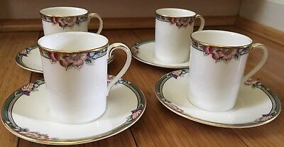 Set of 4 Vintage Demitasse Cups and Saucers