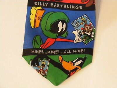 Looney Tunes Stamp Collection 1997 WB neck tie Taz Martian Daffy Bugs Bunny ~A
