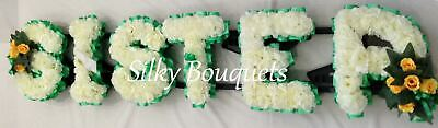 Sister Artificial Silk Funeral Flower Any 6 Letter Name Tribute Wreath Auntie